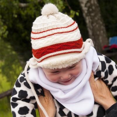 Dětská - kojenecká pletená čepice s kožíškem
