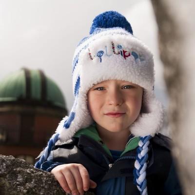 Dětská pletená čepice s kožešinkou