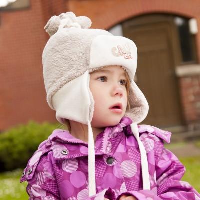 Dětská fleece ušanka na zavázky.