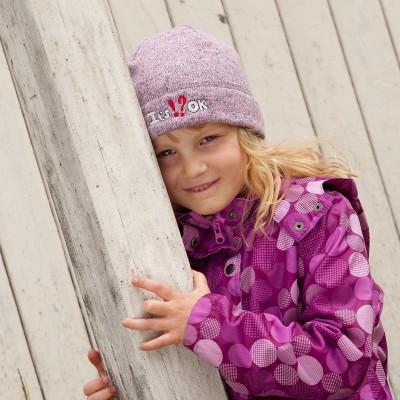 Dětská fleece melírovaná čepice s výšivkou