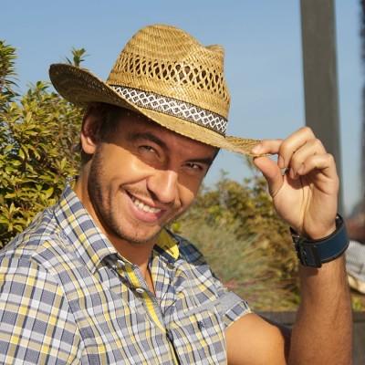 Pánský slaměný klobouk se stuhou - kovboj.