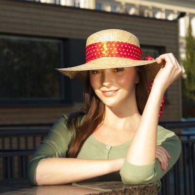 Dámský slaměný klobouk s mašlí
