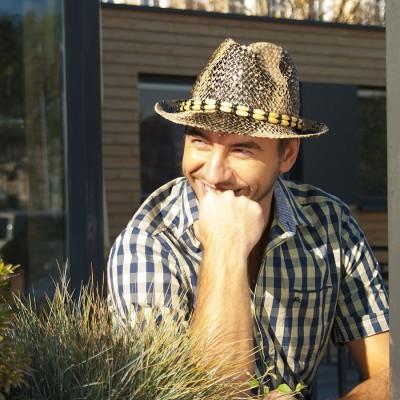 UNISEX slaměný klobouk pánský styl - krokodýl