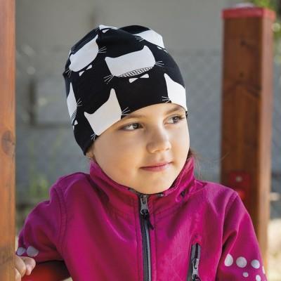 Dětská bavlněná čepice s potiskem kočky