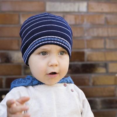 Pletená čepice pruhovaná s bavlněnou podšívkou