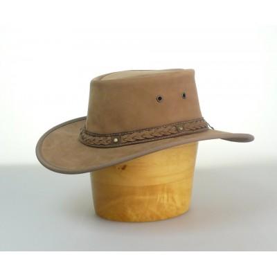 Pánský australský kožený klobouk béžový
