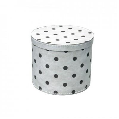 Krabice kulatá 30cm bílá šedý puntík
