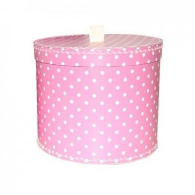 Krabice kulatá 30cm světle růžová bílý puntík