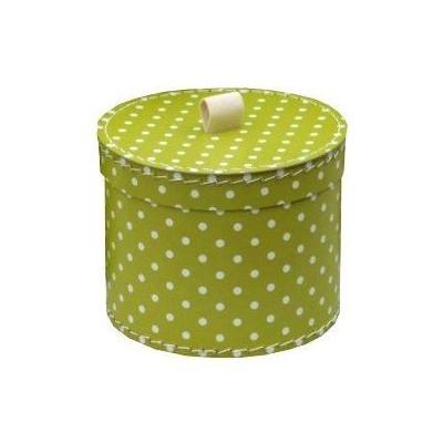 Krabice kulatá 30cm zelená bílý puntík
