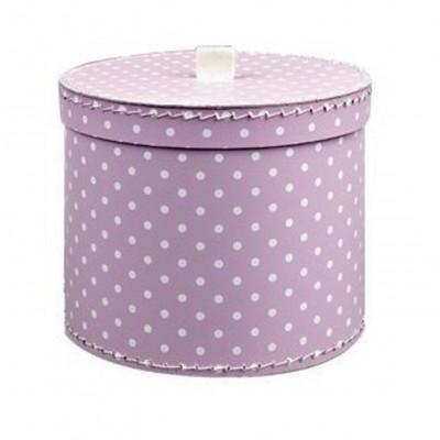 Krabice kulatá 30cm fialová bílý puntík