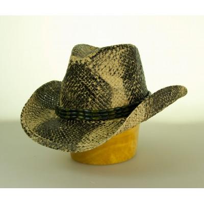 Unisex slaměný klobouk velká krempa - krokodýl