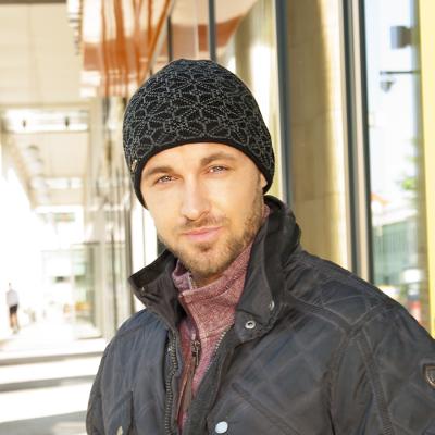 Pletená čepice se vzorem podšitá fleece