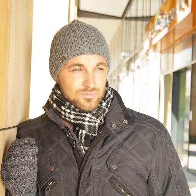 Pánská pletená čepice s podšívkou fleece