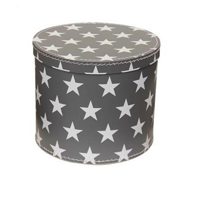 Krabice kulatá 30cm šedá bílé hvězdy