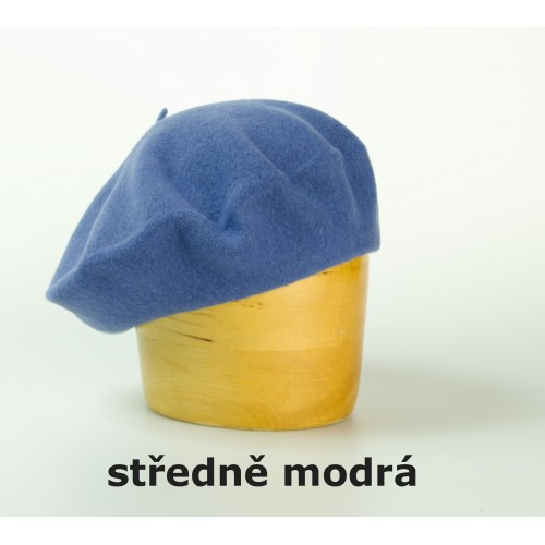 vlněný baret jednobarevný 10,5´