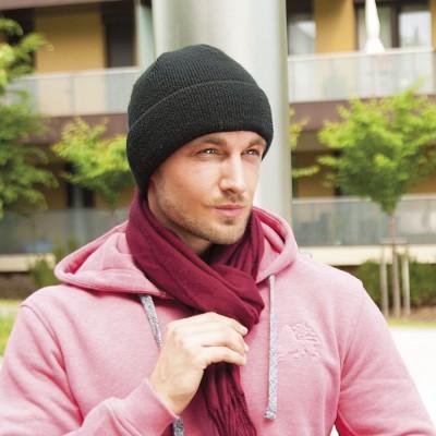 Pletená ohrnovací čepice jednobarevná podšitá fleece