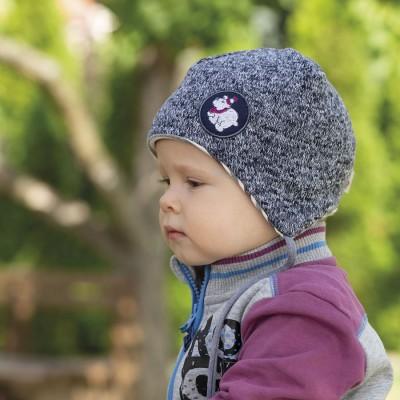 Dětská melír čepice se zavázky podšitá bavlnou