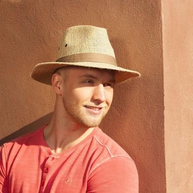 Pánský klobouk z juty se širokou krempou