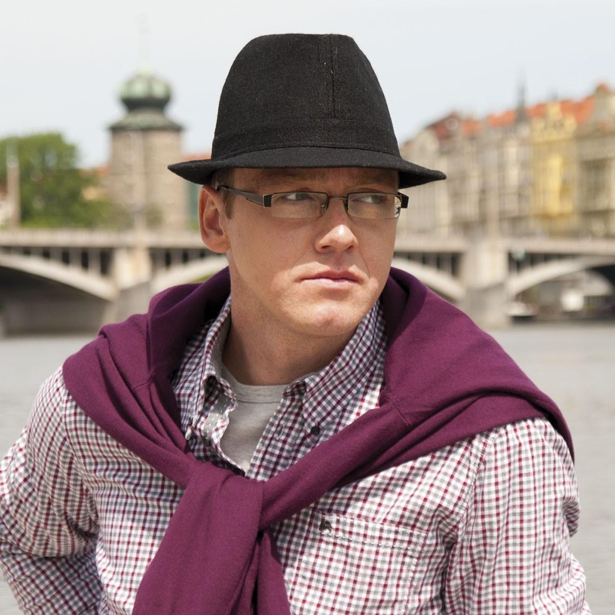 pánský šitý klobouk jednobarevný