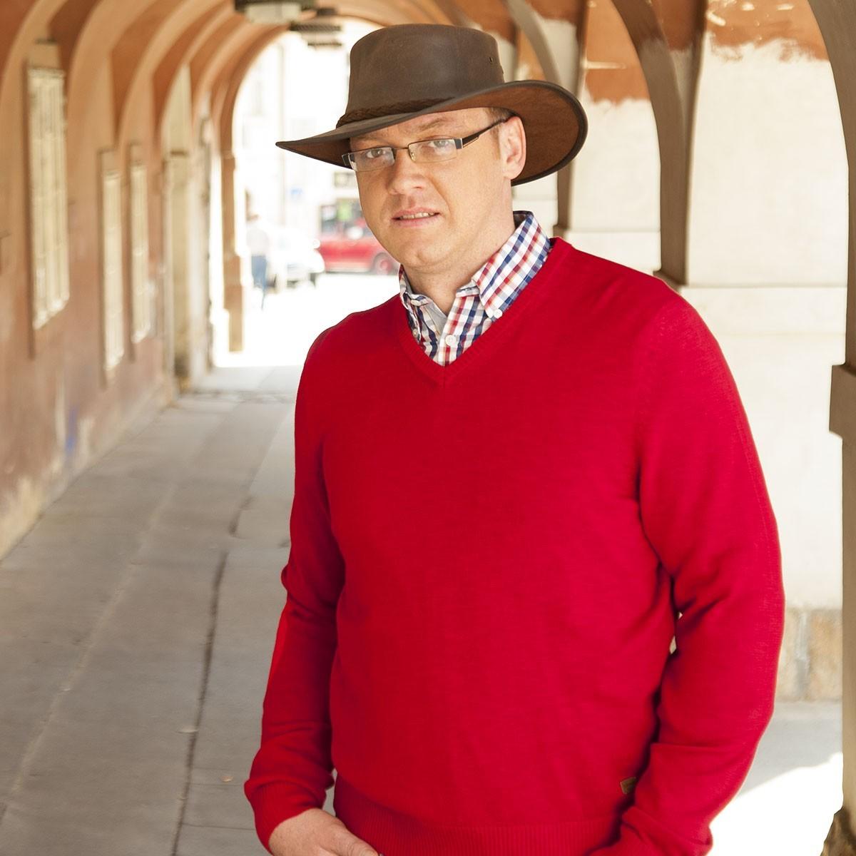 Pánský kožený australský klobouk broušený