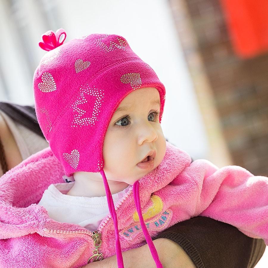 Dětská fleece čepice s potiskem srdíčka