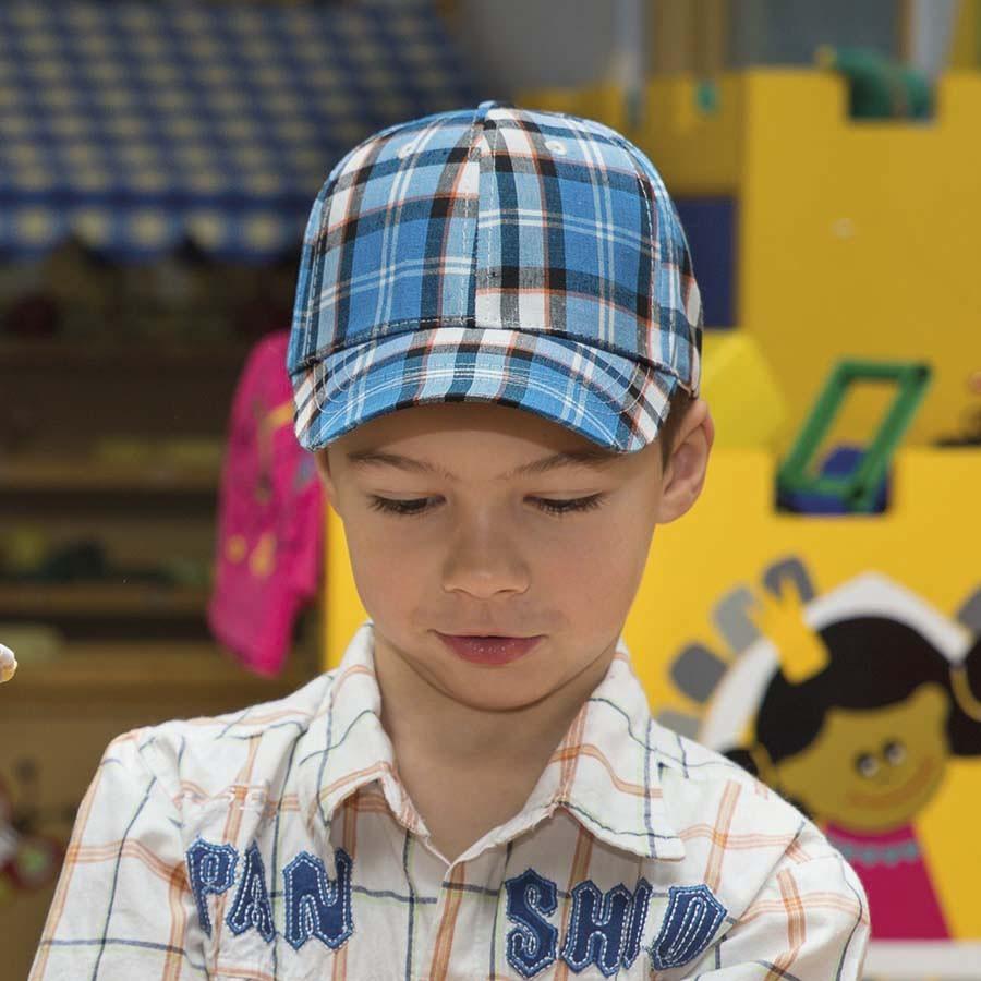 Dětská bavlněná kšiltová čepice - káro