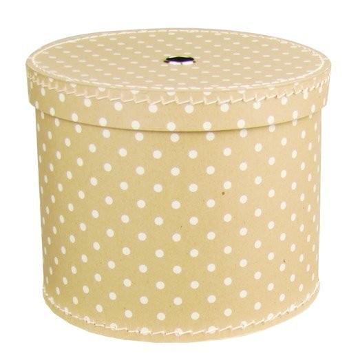Kulatá papírová krabice 30cm přírodní s bílým puntíkem