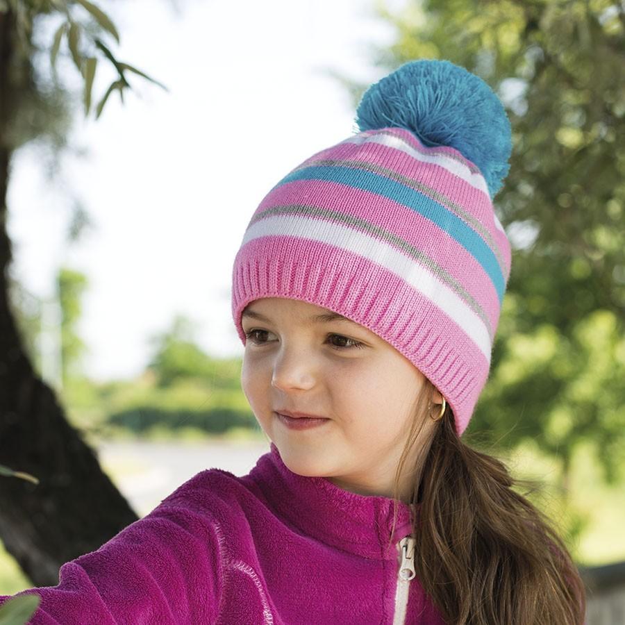 Dívčí pletená čepice podšitá fleece