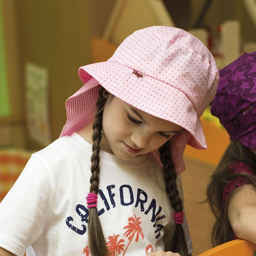 Dětský bavlněný klobouk s rovnou hlavou a plachtičkou proti slunci