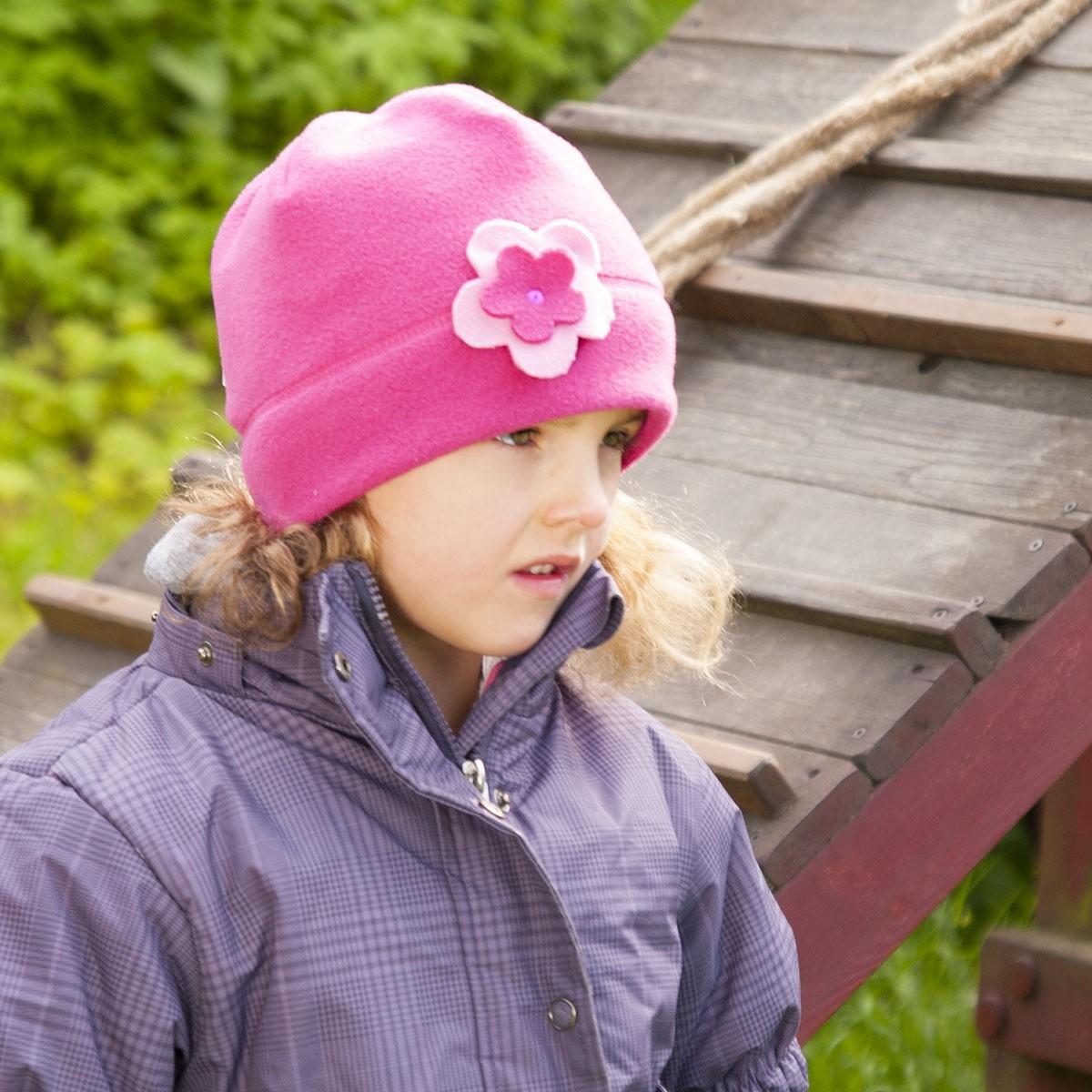 Dětská čepice fleece aplikace květy