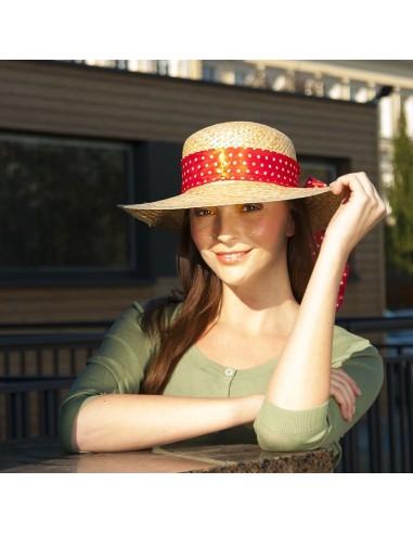 Dámský slaměný klobouk s mašlí barva modrá velikost univerzální 22de68e1a1