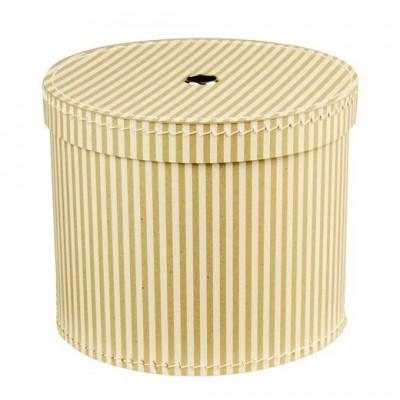 Krabice kulatá 30 cm přírodní s bílým proužkem