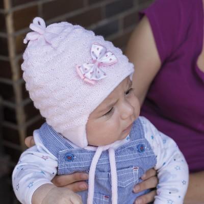 Kojenecká pletená čepice s fleece podšívkou
