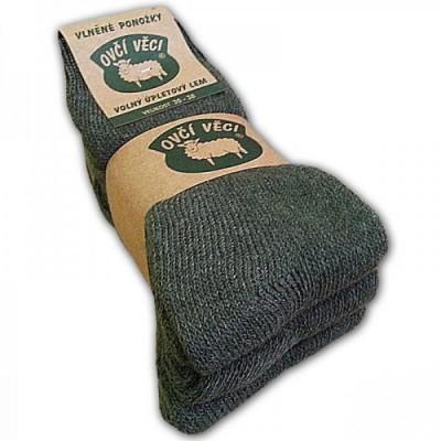 Ponožky z ovčí vlny zelené 2 kusy a 1 zdarma
