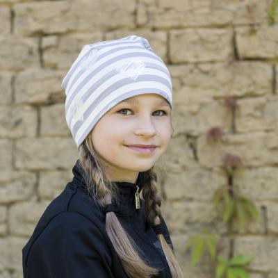 Dívčí úpletová čepice pruhovaná s potiskem srdce