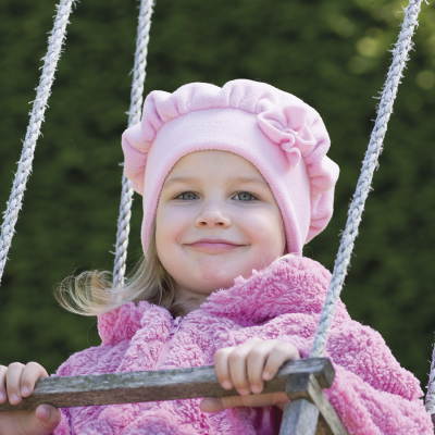 Dětský řasený baret z fleece a aplikací