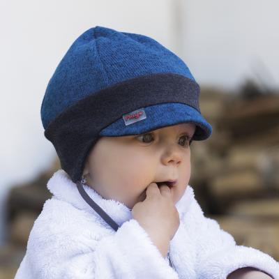 Hugo melír fleece kombinovaný  s úpletem na uši a zavázky