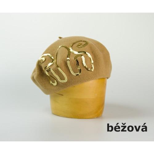Dámský vlněný baret zdobený flitry