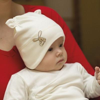 Kojenecká bavlněná čepice na uši s růžky