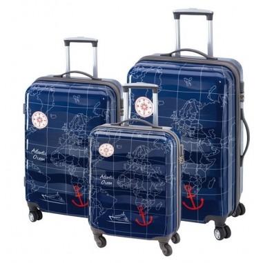 Sada cestovních kufrů na kolečkách ve 3 velikostech MADEIRA sea blue, tm. modrá