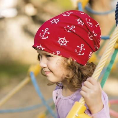 Bavlněná prodloužená čepice s potiskem kotva