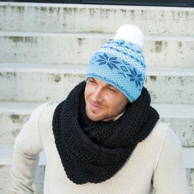 Unisex pletená čepice s norským vzorem a bambulí