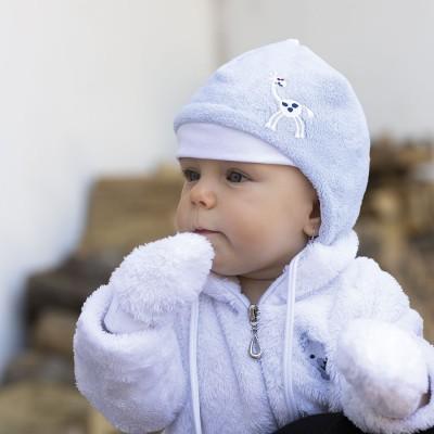 Hugo kojenecká čepice z feece vlas podšitá bavlnou na zavázky